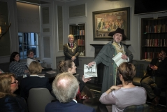 Back in the swing of things! The Hangman seeks out notorious vandal, Robert Burns, at Stirling's Golden Lion Hotel - helping unveil a new painting of Burns and his Cronies, 25th January 2017 (Photo courtesy Stephen McCluskey smccphotography.com)