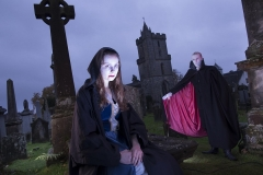 Stirling University student Beth Gray and Edinburgh spook Eric Murdoch get gloriously Gothic in the Auld Kirkyard of Stirling to promote the Caledonian Vampyre Ball, part of the Scottish Paranormal Festival 2014. Photo courtesy of VisitScotland