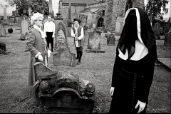 A long time ago in a Graveyard not-so-far away...Sir John Dinley (David Kinnaird),Allan Mair (Paul Callaghan), Blind Alick (Gordon Riddoch) and The Black Lady (Rochelle MacDonald) prepare to embark on the first full GhostWalk season, back in 1990