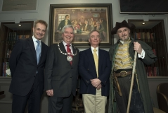 The Hangman with Paul Waterson (Manager of the Golden Lion Hotel), artist William Dobbie and Provost Mike Robbins unveil a new portrait of Poet Robert Burns and his Cronies, 25th January 2017 (Photo courtesy Stephen McCluskey smccphotography.com)