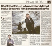 Sunday Herald 18/05/14 - Feature on the Scottish Paranormal Festival...and who is that familiar figure lurking in the background?