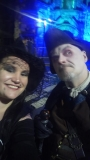 Megan Cameron and The Hangman, amid the bustle of the Witches' Lantern Parade, 2 November 2019