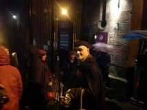 The Hangman inspects the audience prior to the Stirling Ramblers' GhostWalk on 21st November 2014