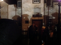 A wet start to the Stirling Ramblers' GhostWalk, as they are told the tale of Auld Staney Breeks at Cowane's Hospital, 21st November 2014 (photo by Denis Taylor)