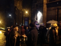 The Stirling Ramblers' Club gather at the gates of the Old Town Jail, for their GhostWalk on 21st November 2014