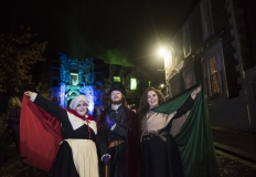 The Hangman's Old Town Jail minions Emma McCabe (Bessie Stivenson), Jonathan Wilson (James VI) and Meghan Whiteside (Magdalene Blair) at Stirling Council's FIRST Hallowe'en Lantern Parade, 2 November 2019 (Photo Courtesy of Stirling Council)